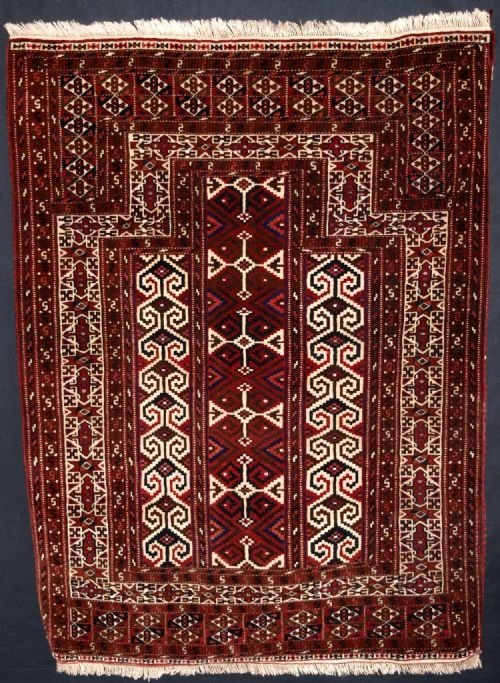 antique yomut turkmen prayer rug full pile circa 1920