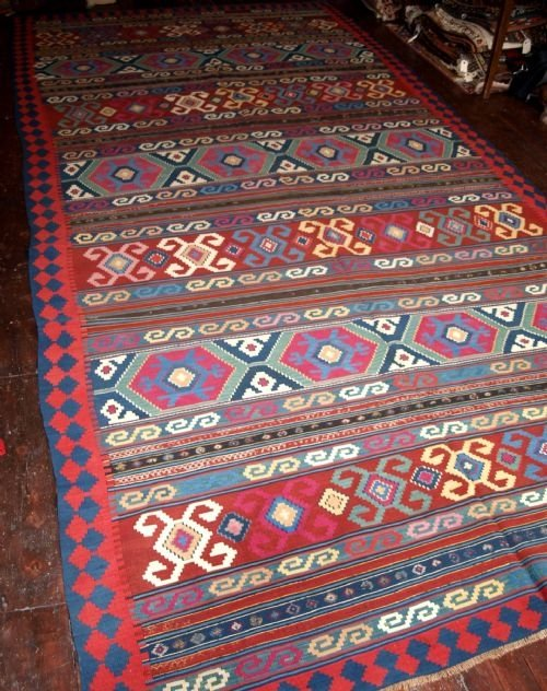 antique caucasian kuba kilim great condition circa 190020