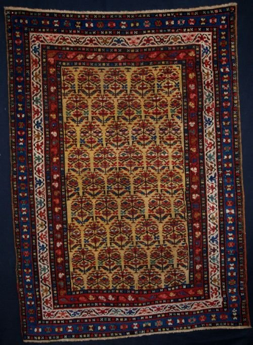 antique yellow ground kurdish rug with shrub design beautiful colours circa 1900