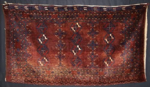 antique afghan turkmen chuval of large size complete plain weave back circa 190020