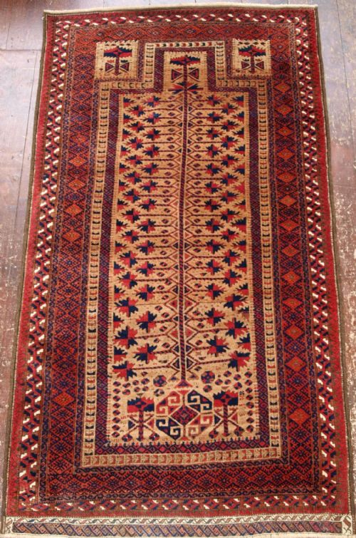 antique baluch camel ground prayer rug full pile outstanding late 19th cent