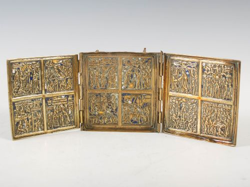 russian brass and enamel travelling triptych icon 19th century