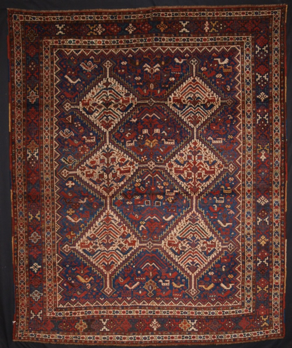 antique khamseh tribal rug superb design with birds circa 1900