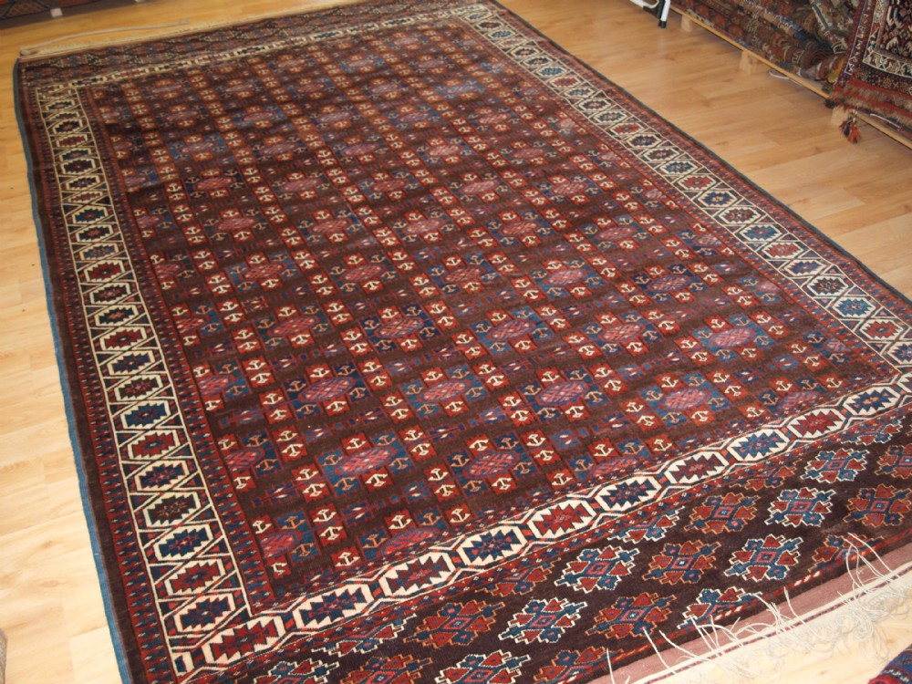 antique yomut turkmen main carpet with kepse gul design circa 1900