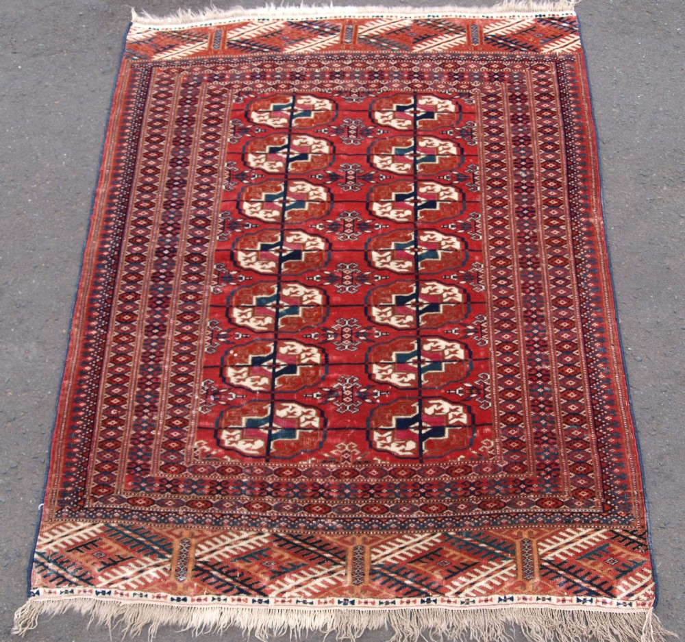 antique tekke turkmen rug of small size and very fine weave great colour circa 1900