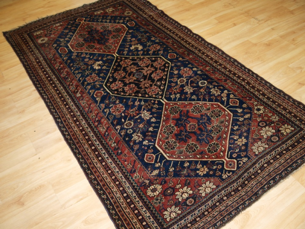 antique south west persian qashqai rug tribal design great colour circa 1900