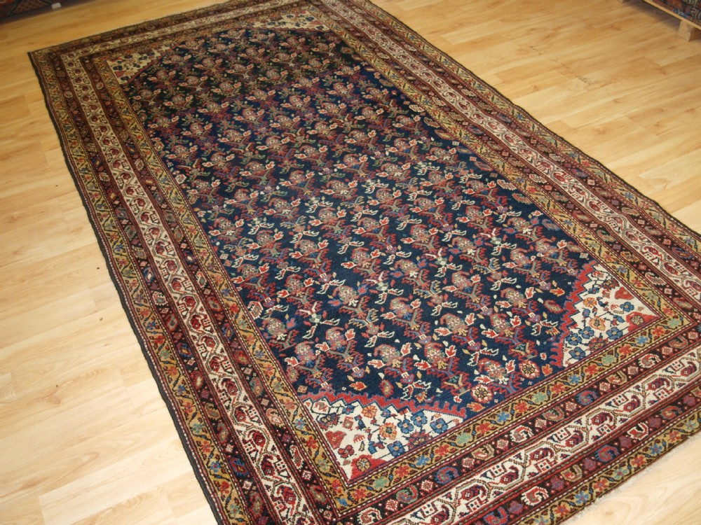 antique north west persian malayer kelleh rug with shrub design and superb colour circa 1900