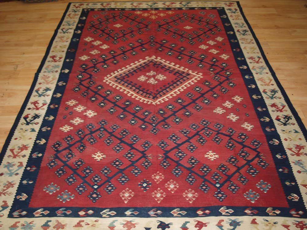 antique turkish sarkoy kilim very fine weave cochineal dye circa 1870