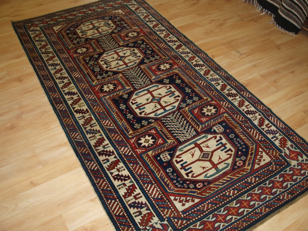 antique caucasian shirvan rug with 'surahani' garden design superb colours late 19th century