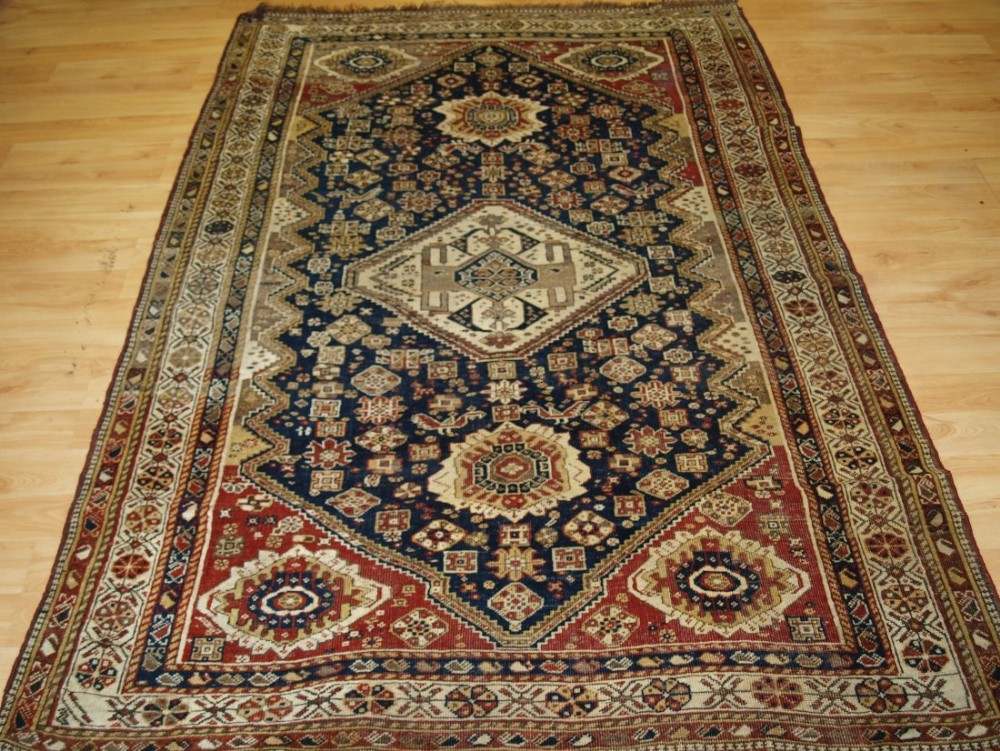 antique tribal qashqai rug medallion design faded look late 19th century