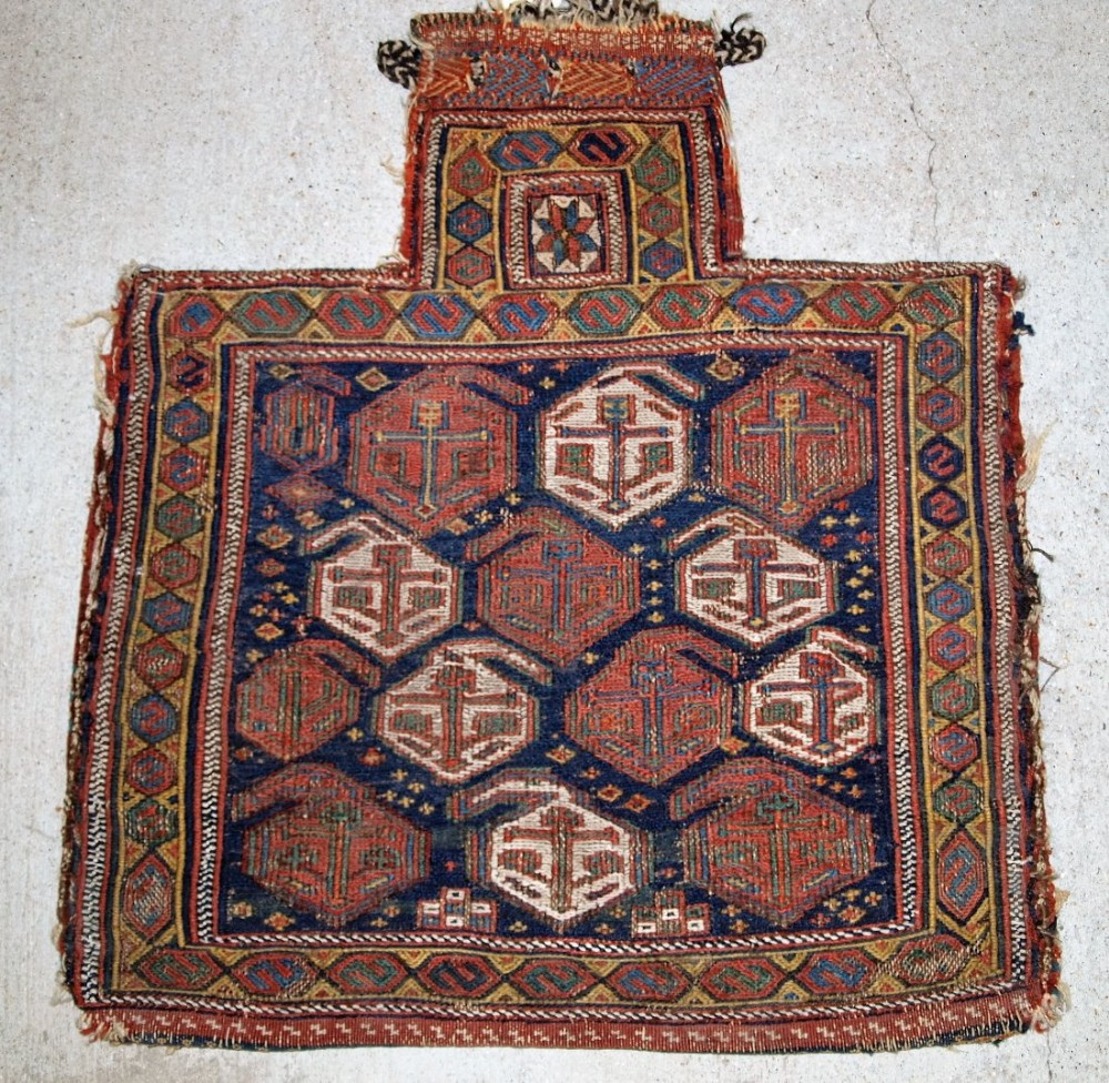 antique south persian afshar tribe salt bag in soumak work stars and boteh circa 1880