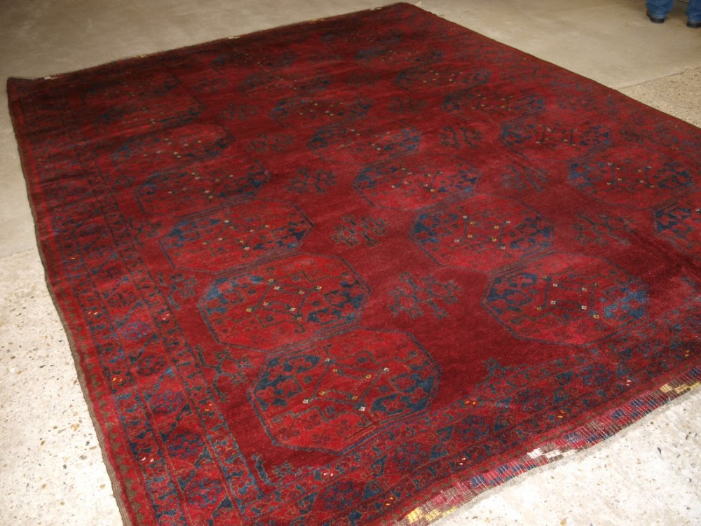 old traditional afghan ersari village carpet very deep rich red colour good condition circa 1920