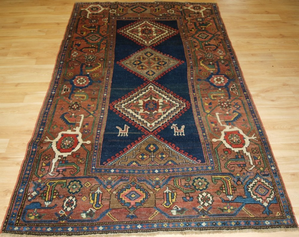 antique north west persian kurdish rug with superb large border circa 1900