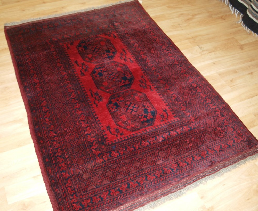 old afghan village rug with traditional design superb colour and condition circa 1920
