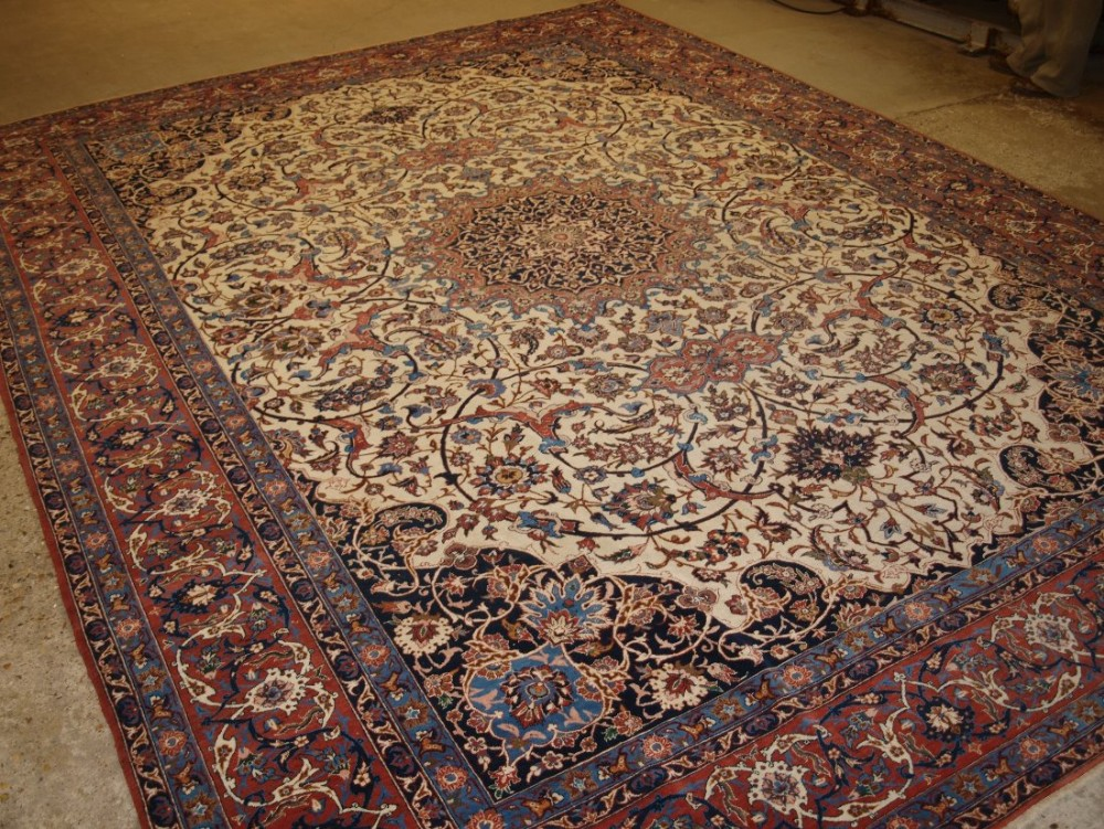 antique isfahan carpet stunning design on a light ivory ground circa 1920