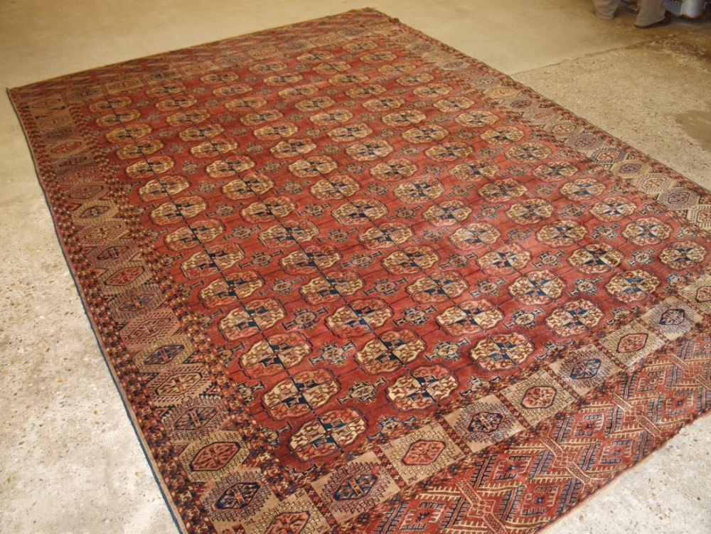 antique tekke turkmen main carpet very soft red colour good large size circa 1880
