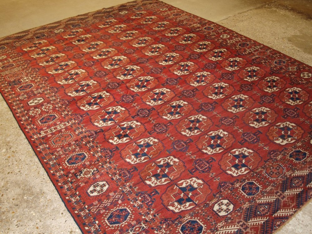 antique tekke turkmen main carpet with superb colour and condition large guls circa 1870