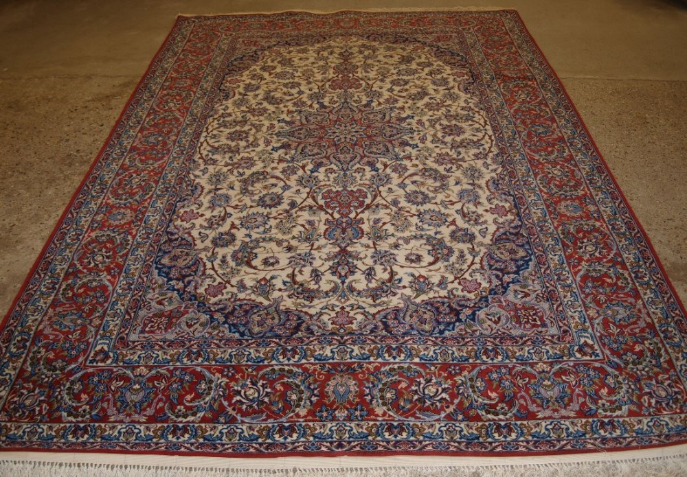 old persian isfahan carpet wool silk on a silk foundation perfect condition superb colours 40 years old