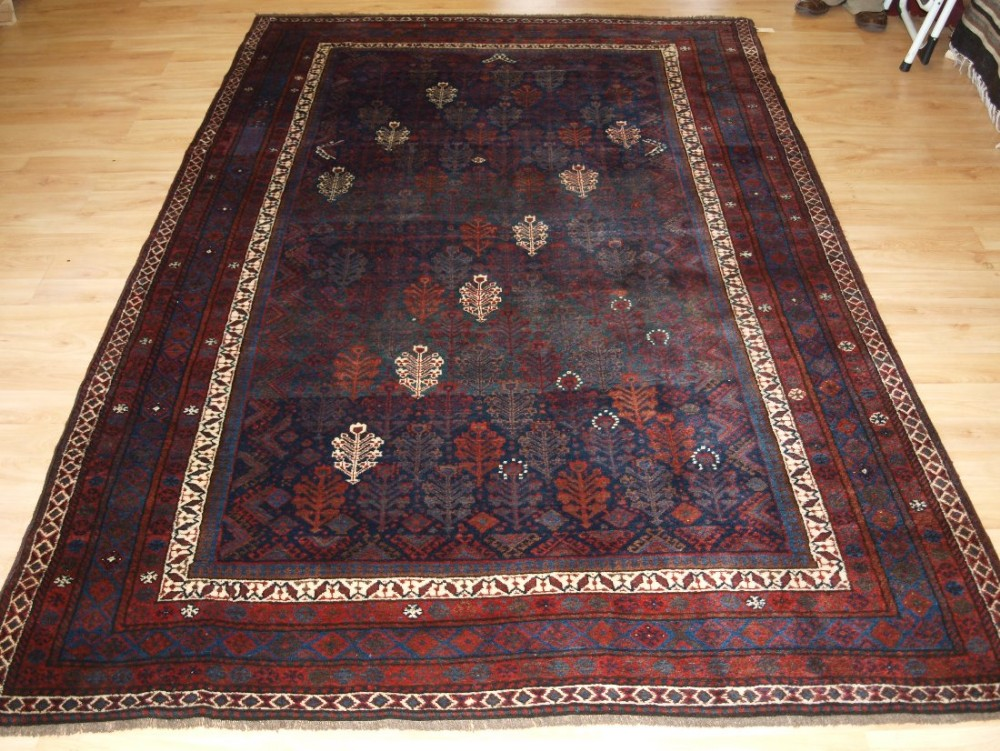 antique kurdish rug with all over shrub design outstanding condition late 19th century