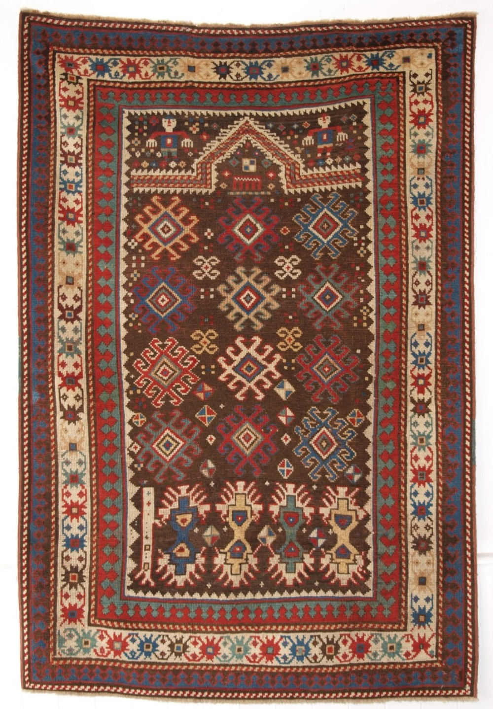 antique caucasian karabagh region prayer rug human figures circa 1880