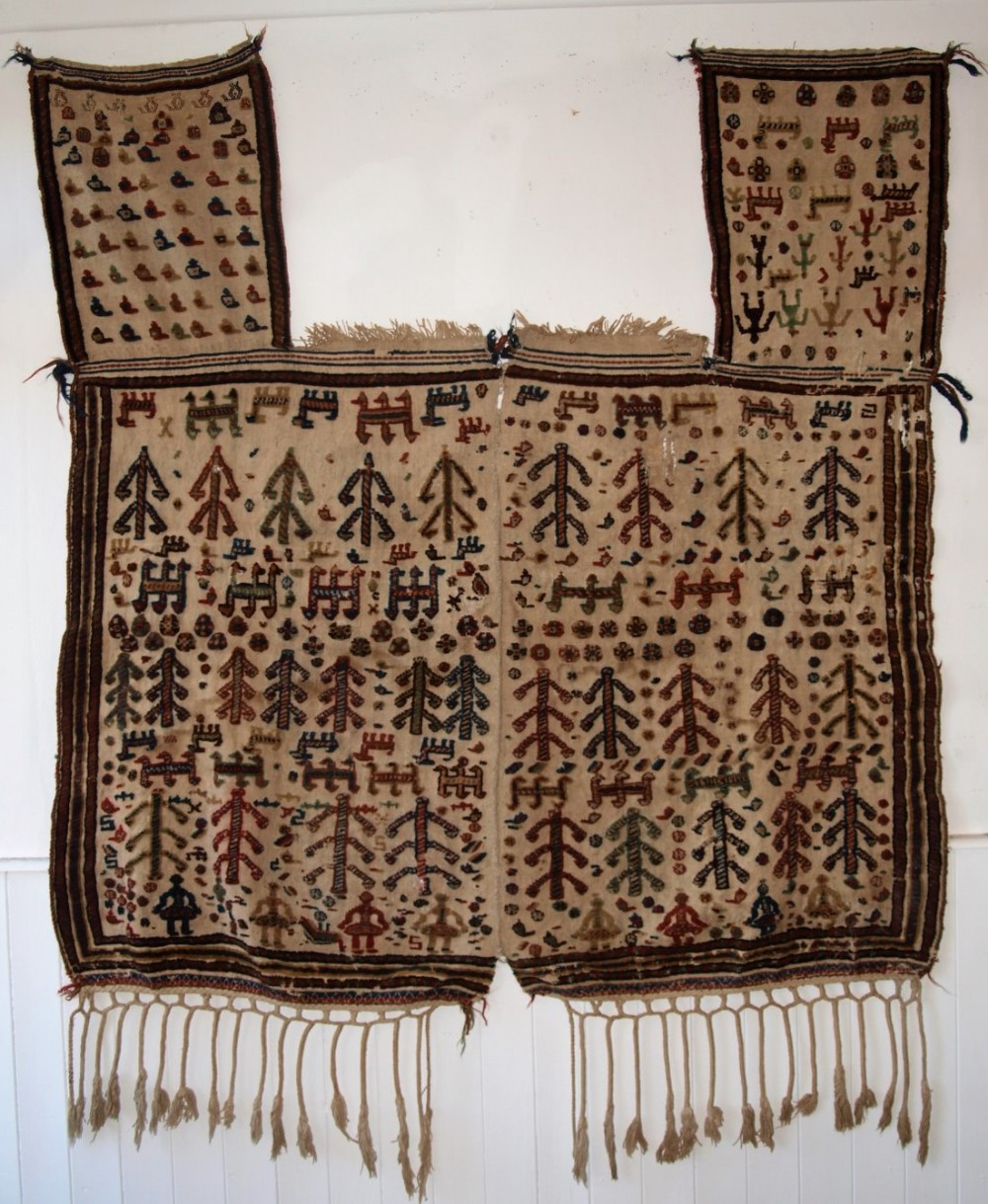 antique qashqai tribal horse cover blanket or rug beautifully decorated circa 1890