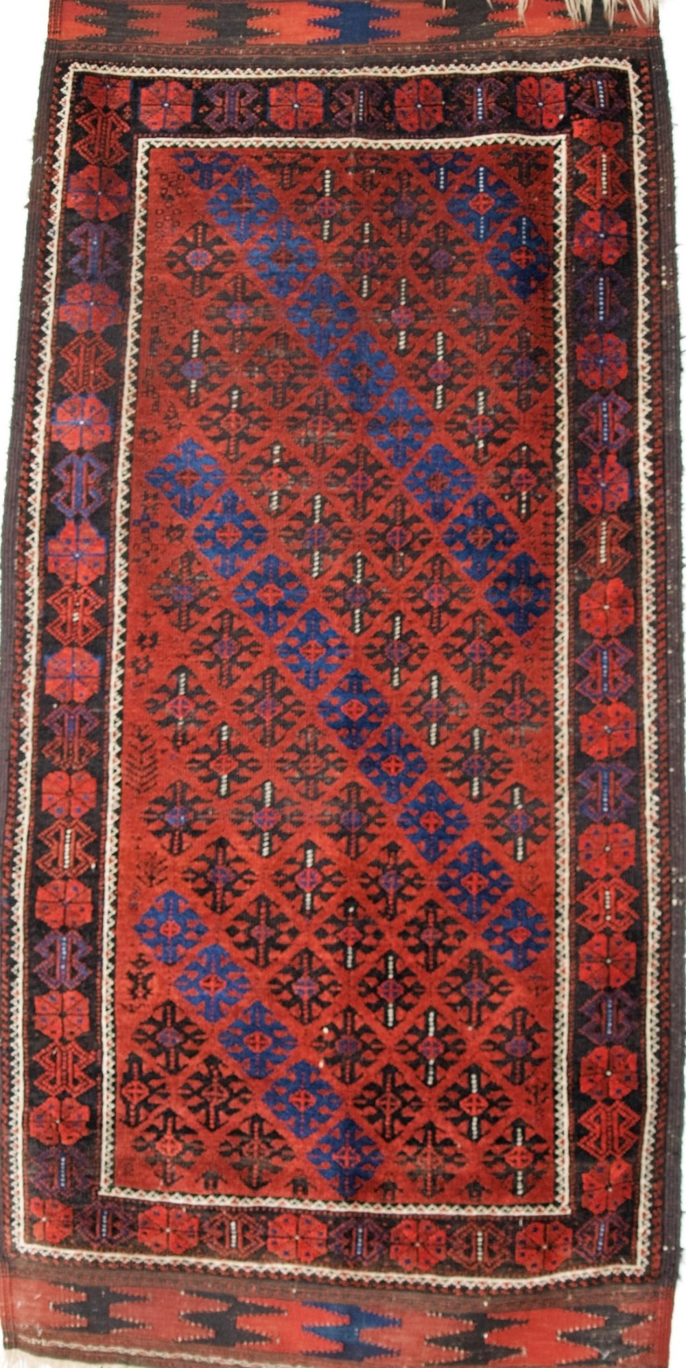 antique baluch rug lattice design superb long kilim ends circa 1880