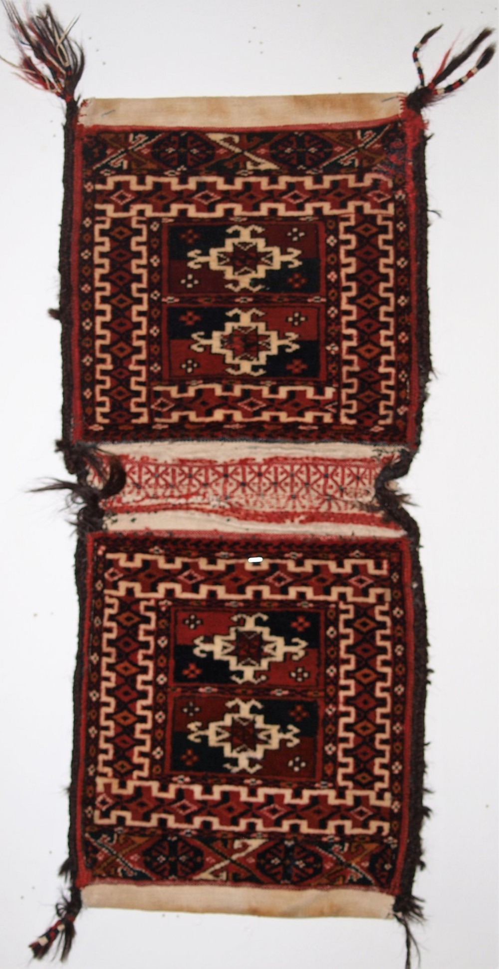 antique complete pair of very small tekke turkmen khorjin saddle bags outstanding condition circa 1900