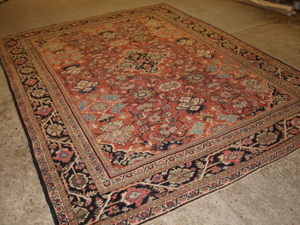 antique mahal carpet good room size with soft pastel colour circa 1900