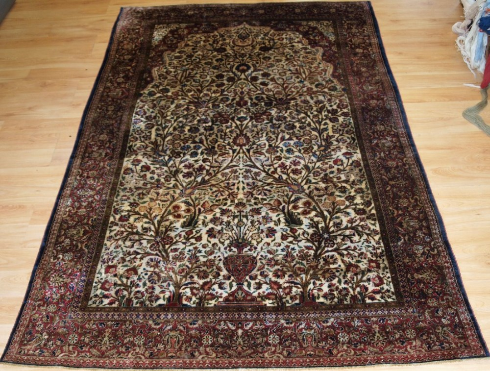 antique persian silk 'souf' kashan prayer rug circa 1900