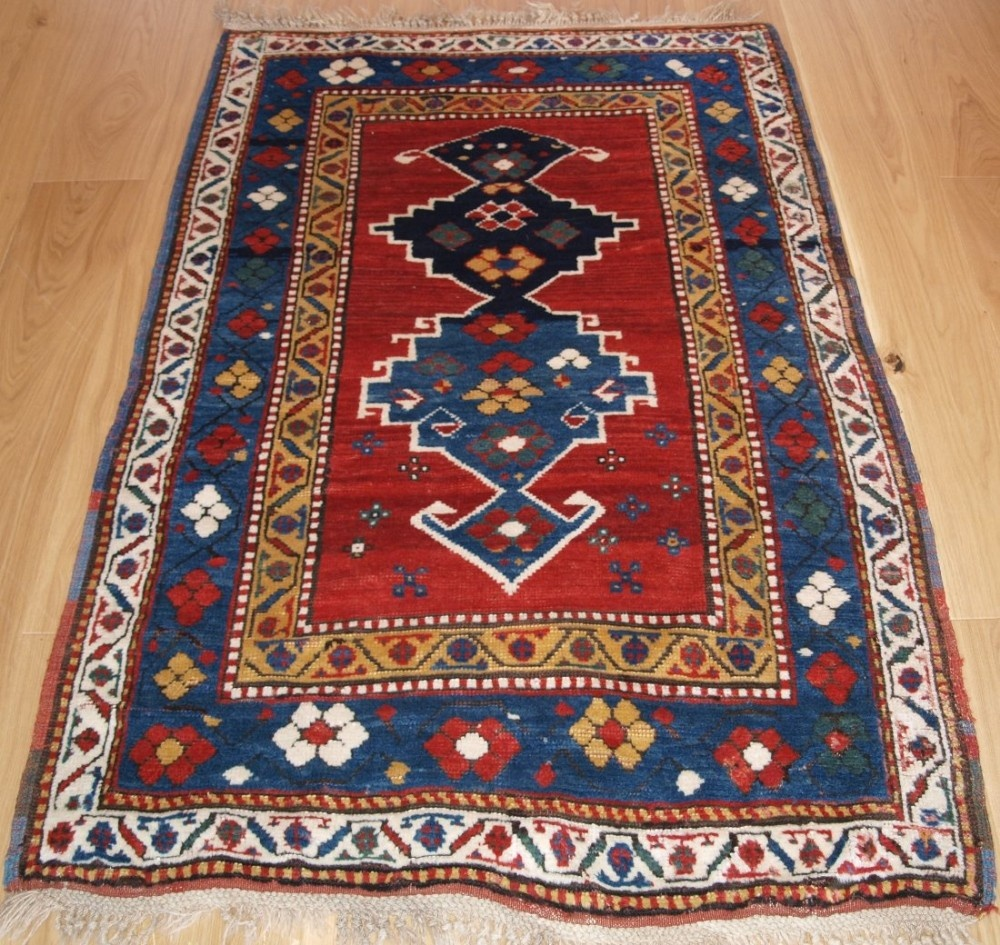 antique caucasian kazak rug with superb colour and long glossy pile late 19th century