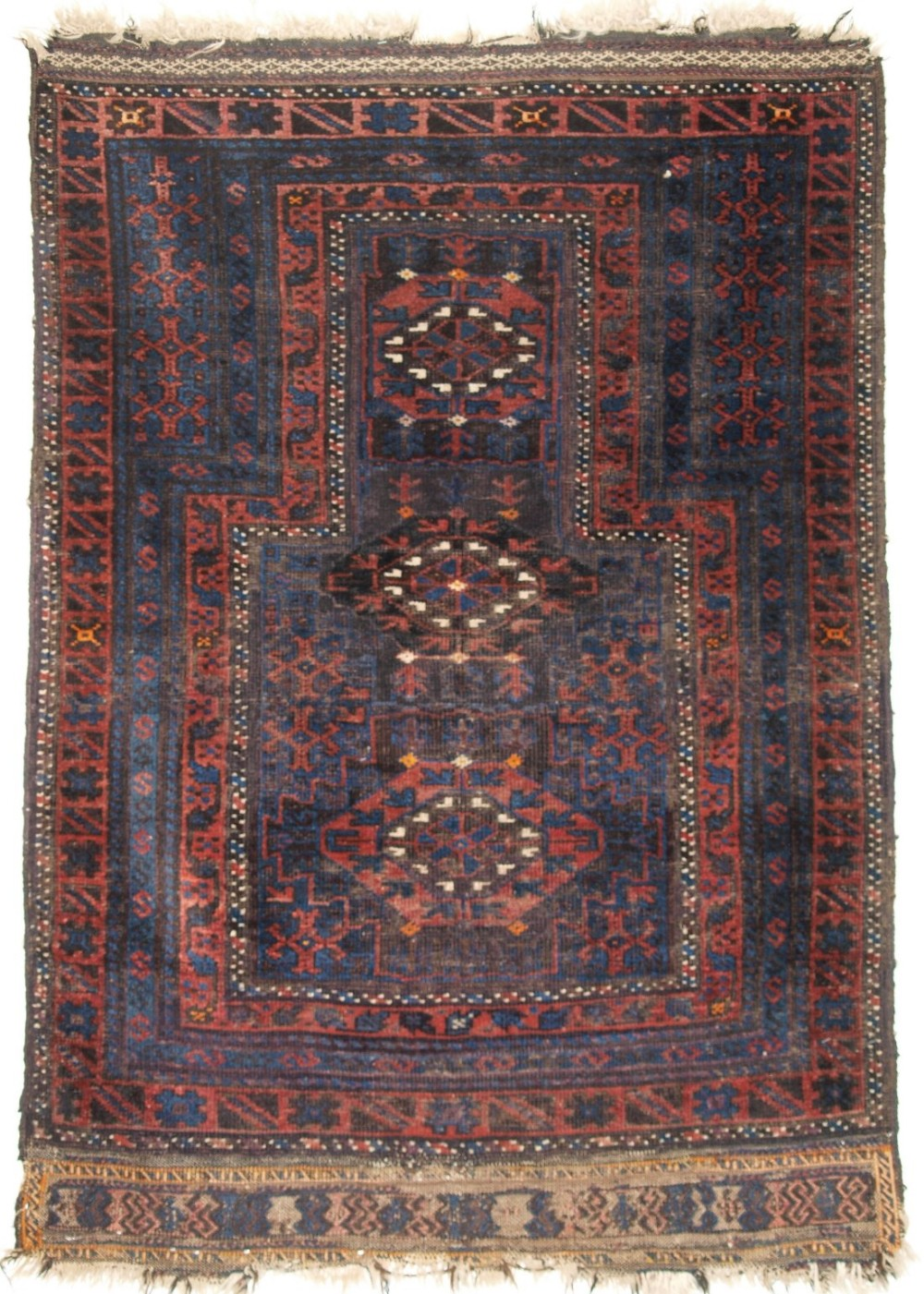 antique timuri baluch prayer rug blue ground late 19th century