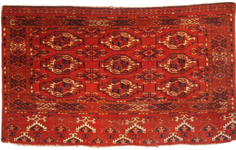antique kizil ayak turkmen chuval superb colour late 19th century one of a pair a
