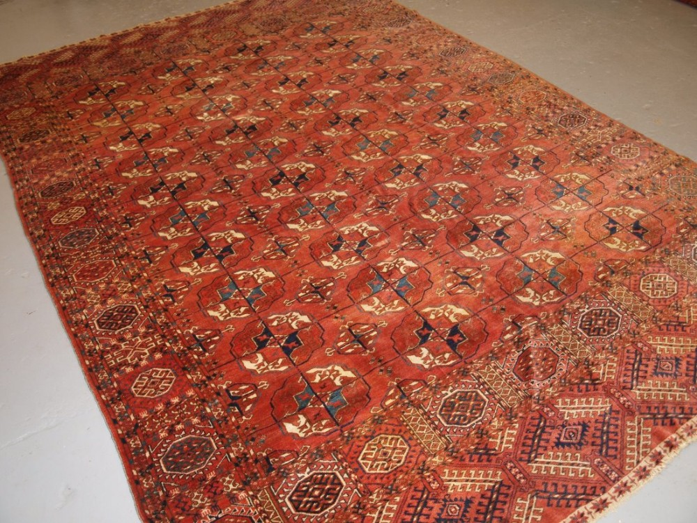 antique tekke turkmen main carpet wonderful colour large round guls 2nd half 19th century