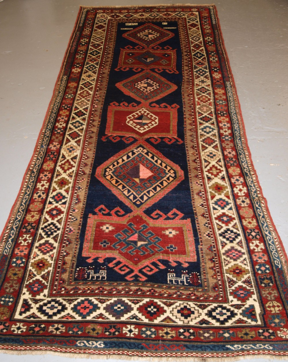 antique caucasian kazak long rug or runner great condition and colour late 19th century