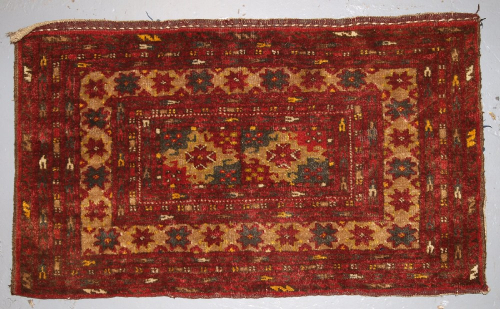 old afghan bag of small size with turkmen design plain weave back circa 1920