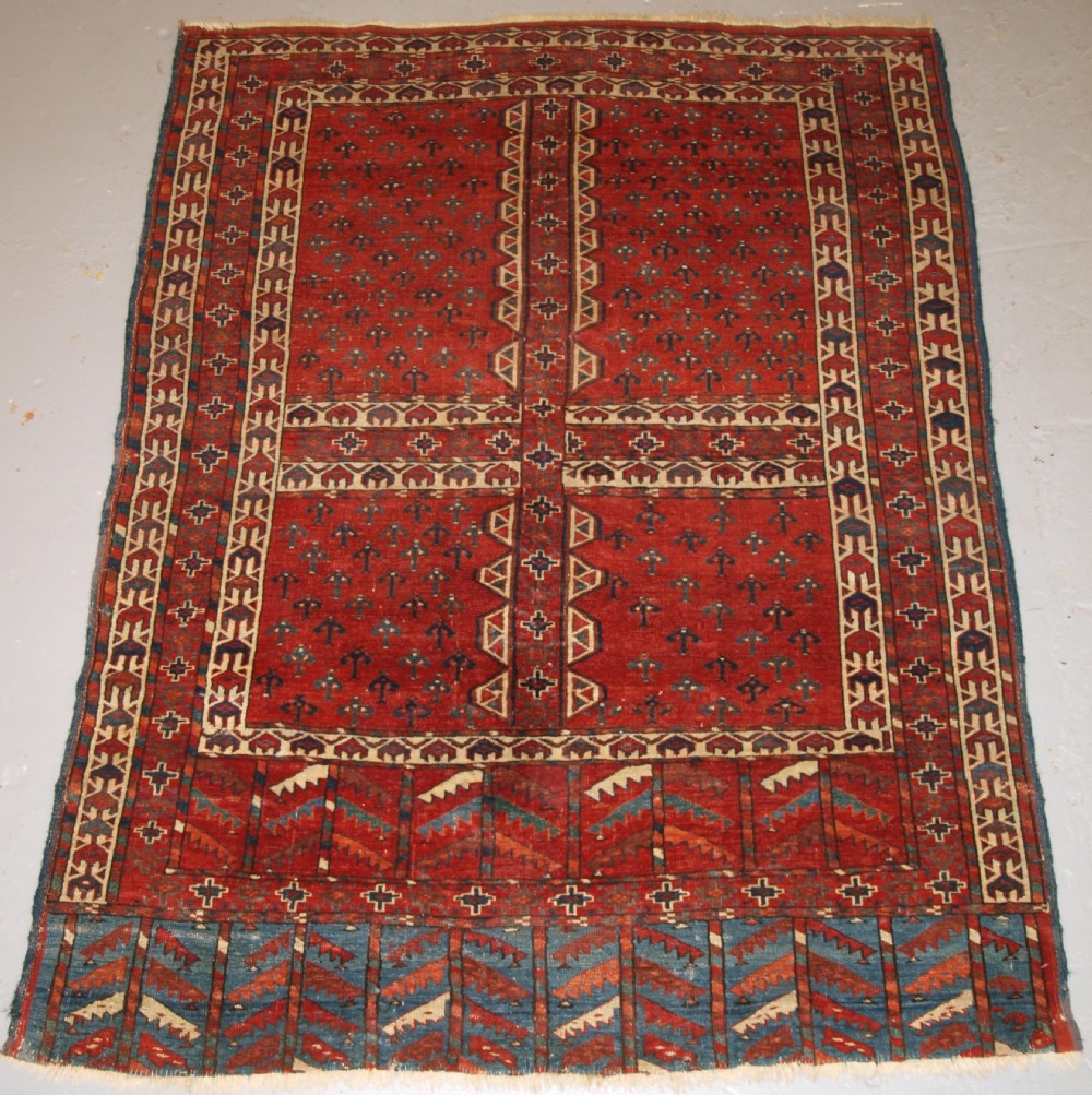 antique yomut turkmen ensi yurt door hanging double tree elem superb 2nd half 19th century