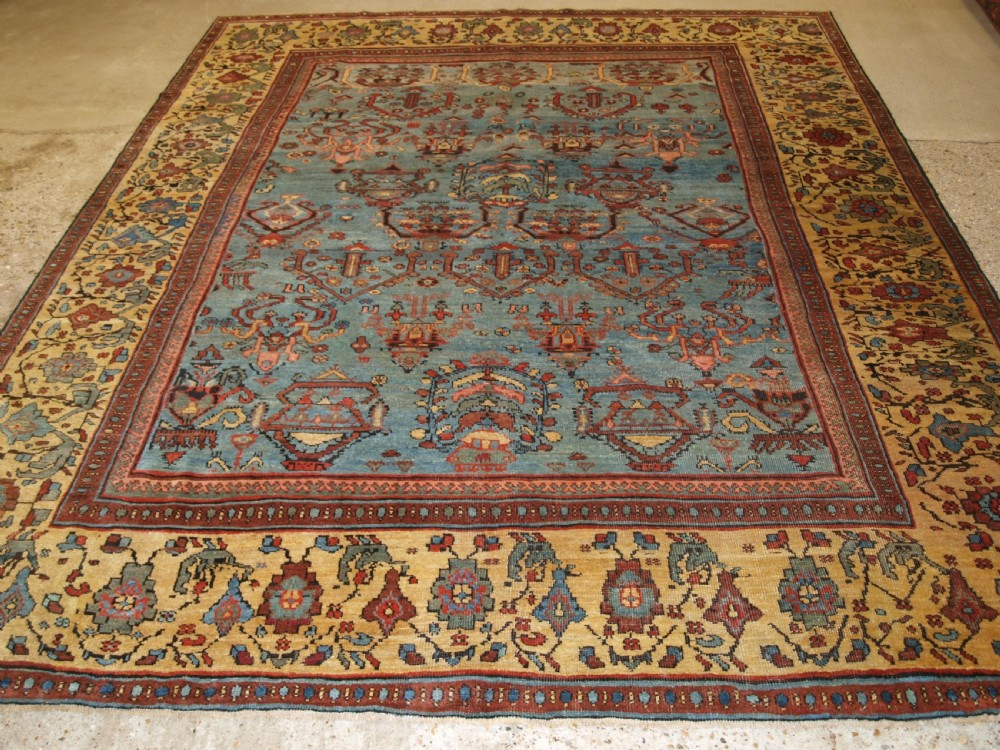 antique persian faraghan village carpet with outstanding colour circa 1880
