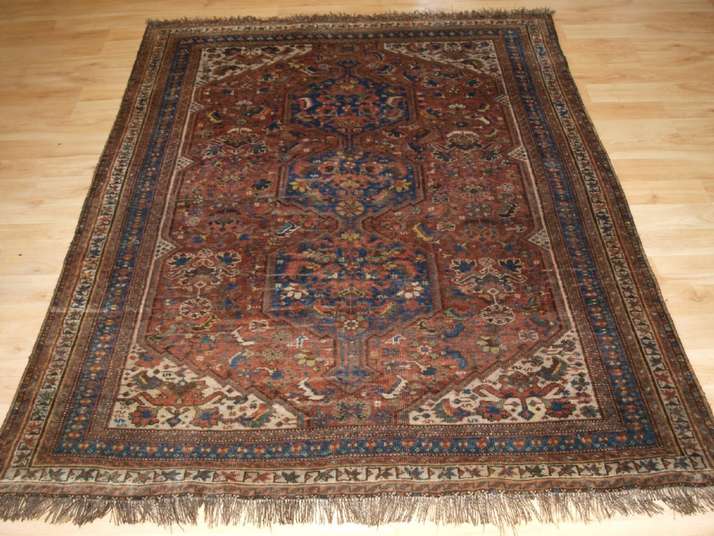 antique south west persian rug by the khamseh tribe baharlu sub tribe circa 1890