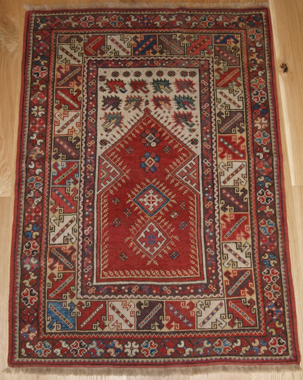 antique turkish milas prayer rug superb small size and design 2nd half 19th century