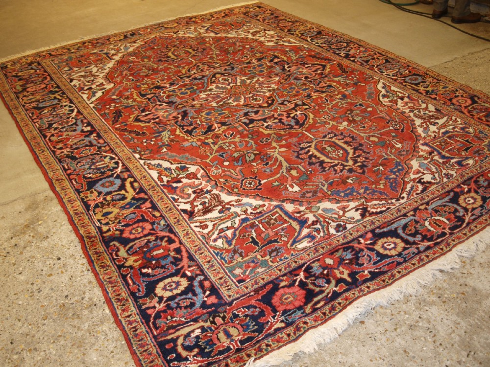 antique persian heriz carpet soft terracotta red field excellent condition circa 190020