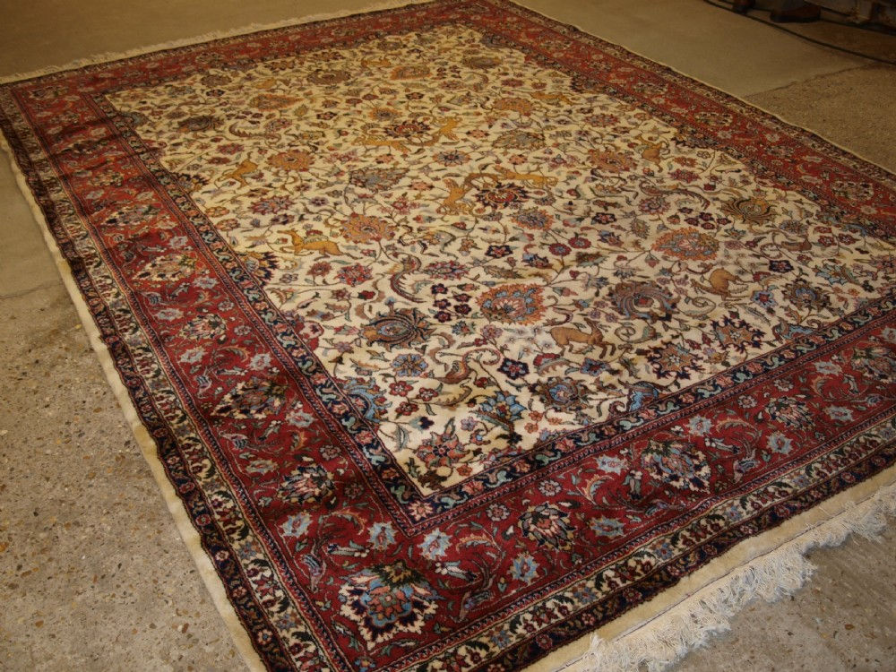 old persian tabriz carpet with classic hunting design excellent condition circa 1920