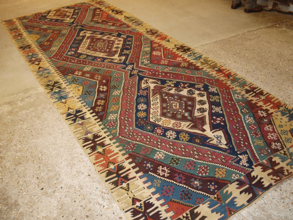 antique turkish malatya kilim of large size with superb colour late 19th century