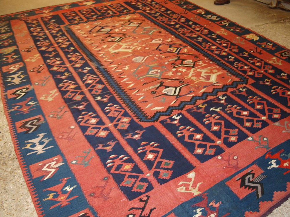antique balkan sharkoy kilim of large size superb design circa 190020