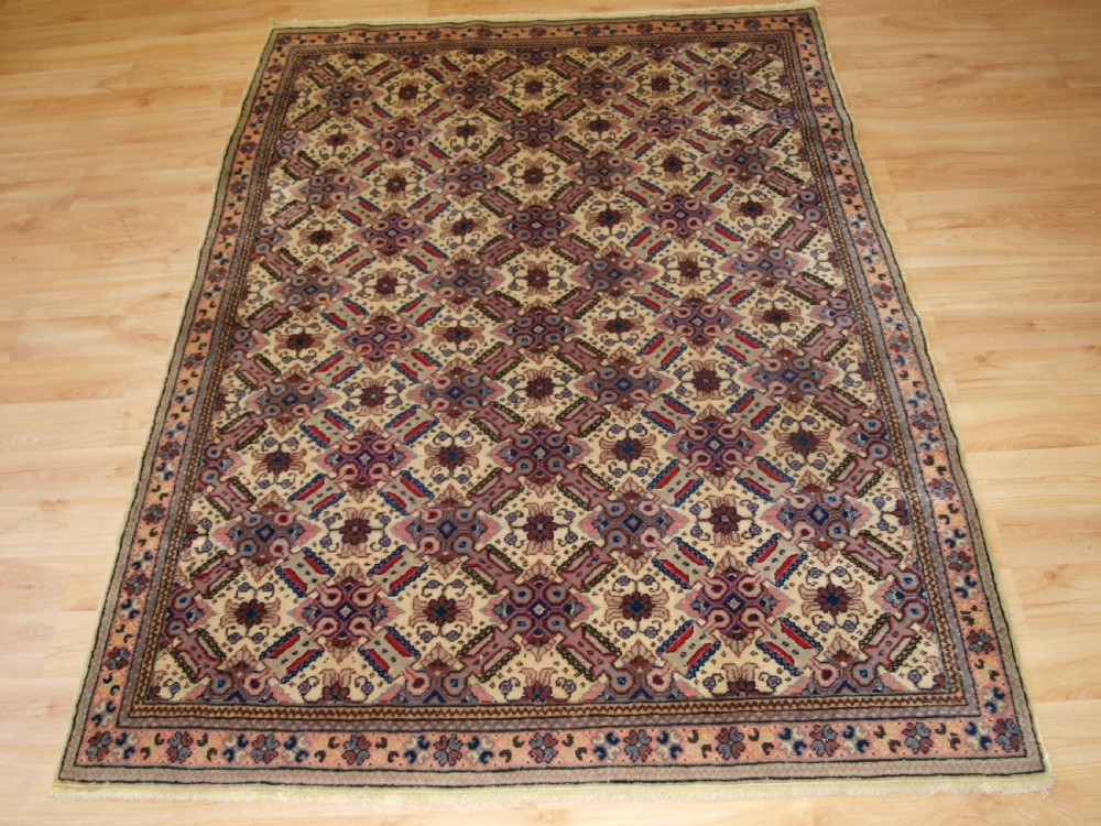 old turkish kayseri rug with lattice design fine weave and soft colour circa 1920