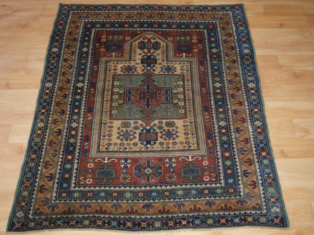 antique caucasian derbent prayer rug in classic kazak prayer design circa 1900