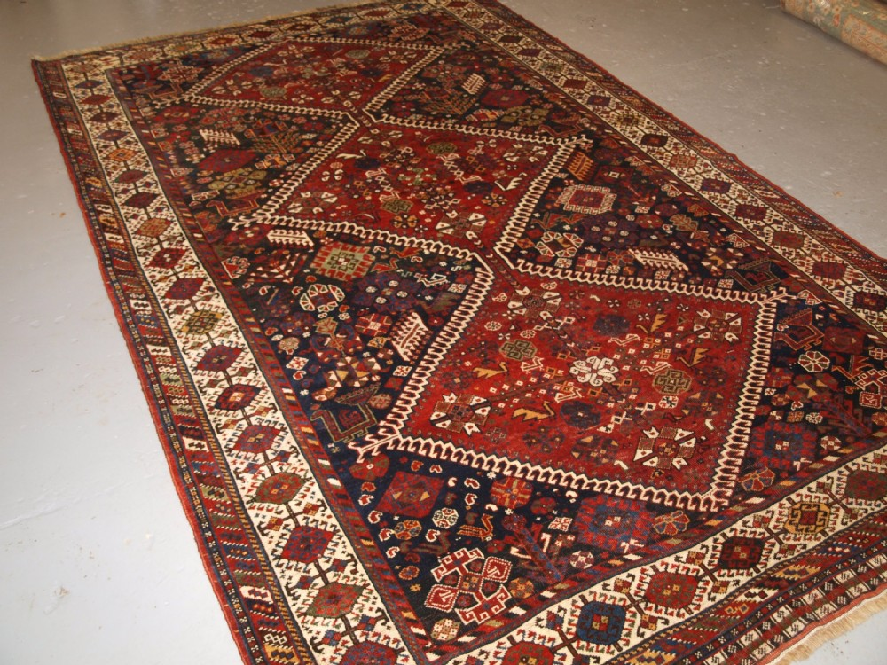 antique tribal qashqai carpet outstanding example circa 1880