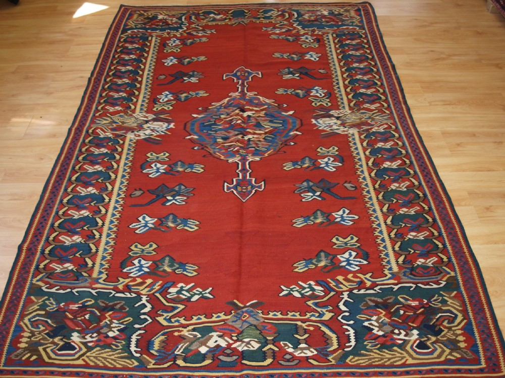 antique bijar kilim with floral design circa 1890