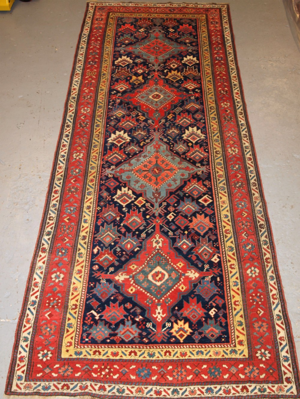 antique south caucasian runner with outstanding colour and design late 19th century