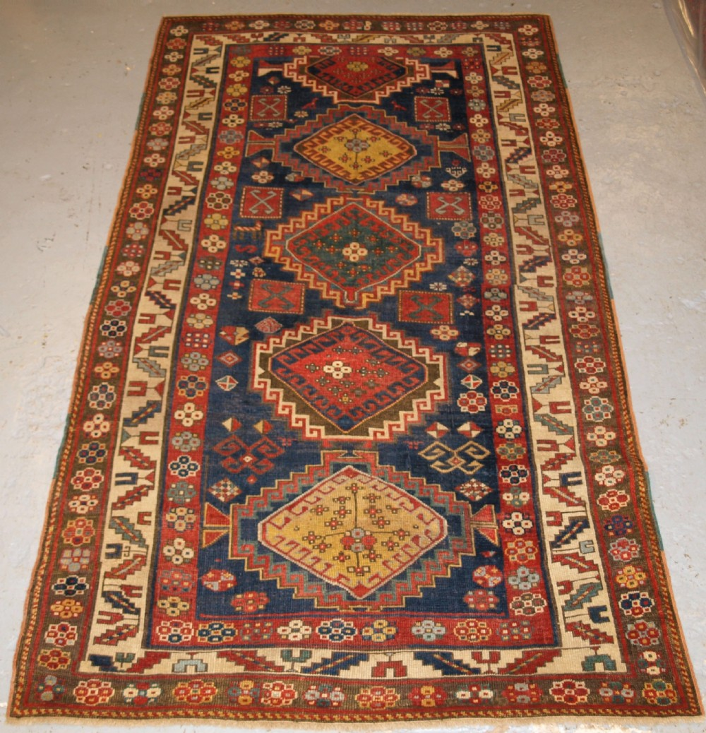 Caucasian Rugs Uk: Antique Caucasian Kazak Rug, Five Medallion Design, Great