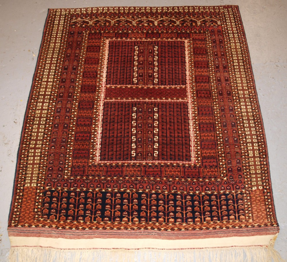antique saryk turkmen ensi door hanging cotton and silk highlights 4th quarter 19th century